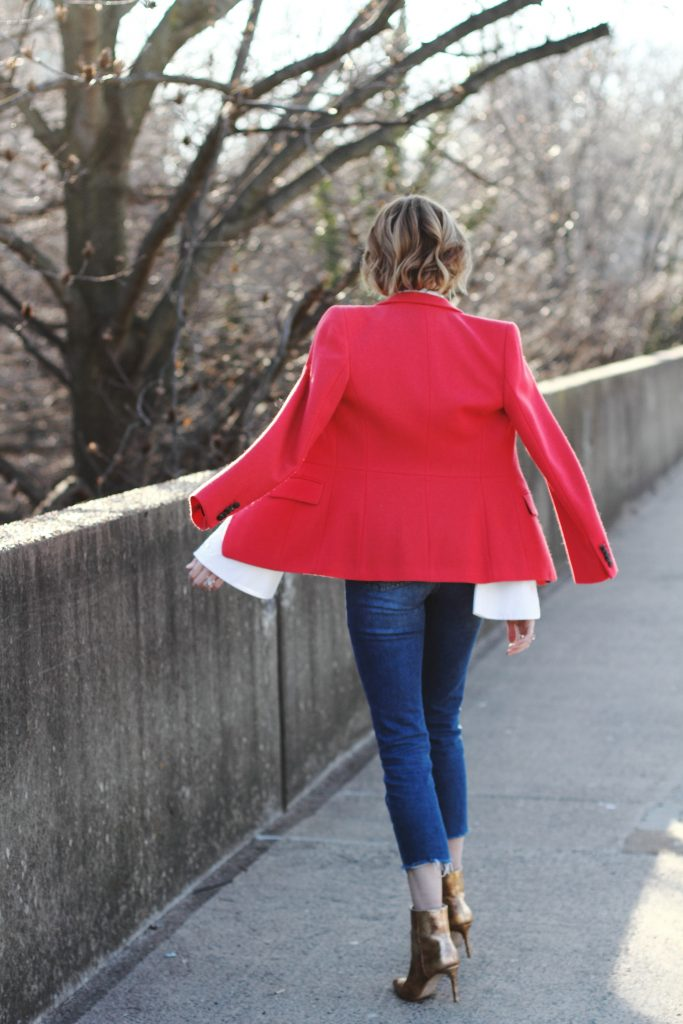 red blazer, cropped denim and gold boots