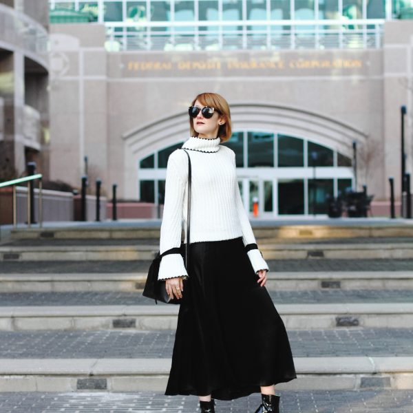 flare sleeve sweater, satin skirt and patent ankle boots