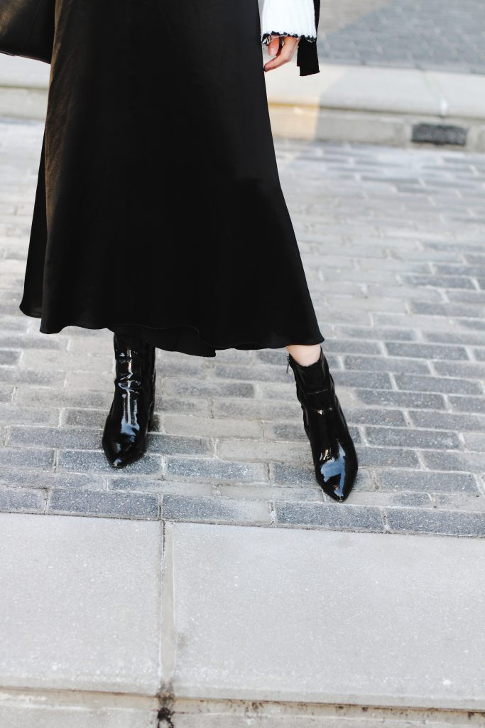 satin skirt and Mango patent ankle boots