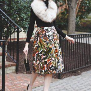 vintage stole, Zara turtleneck, vintage skirt and Prada pumps