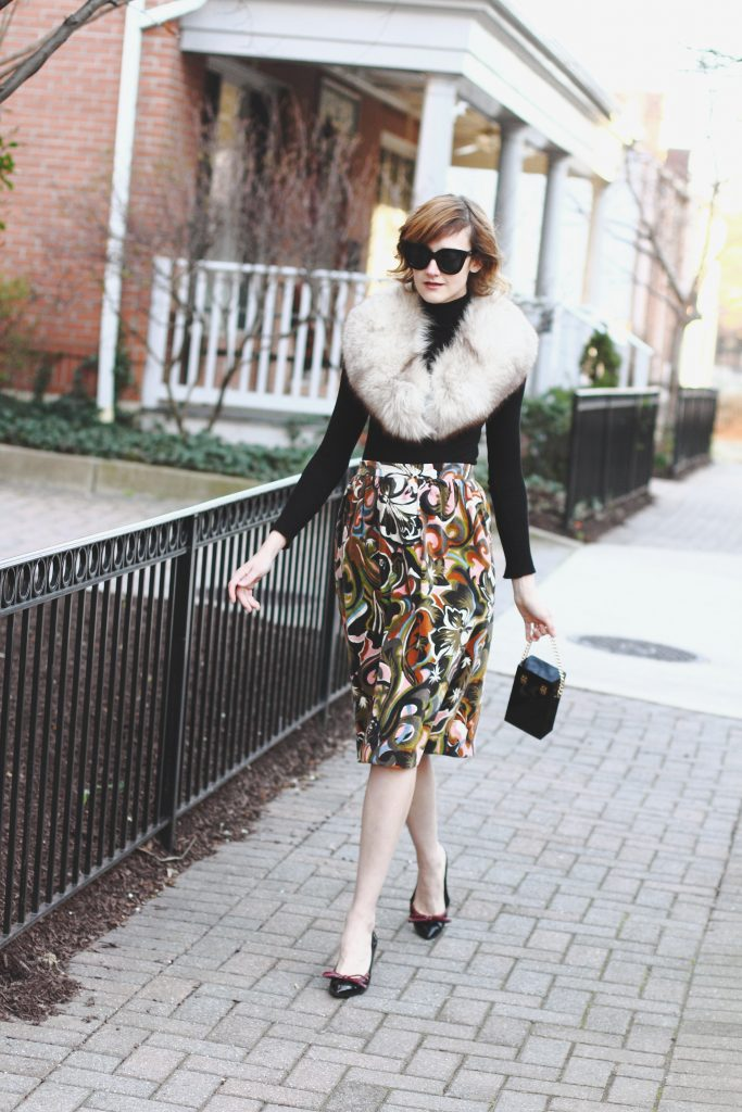 vintage stole, Zara turtleneck, vintage skirt and Prada pumps