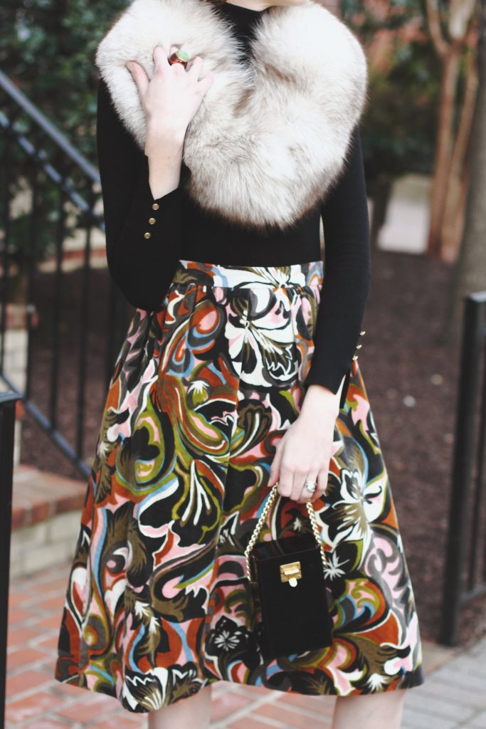 vintage stole, Zara turtleneck, print skirt, and vintage evening bag