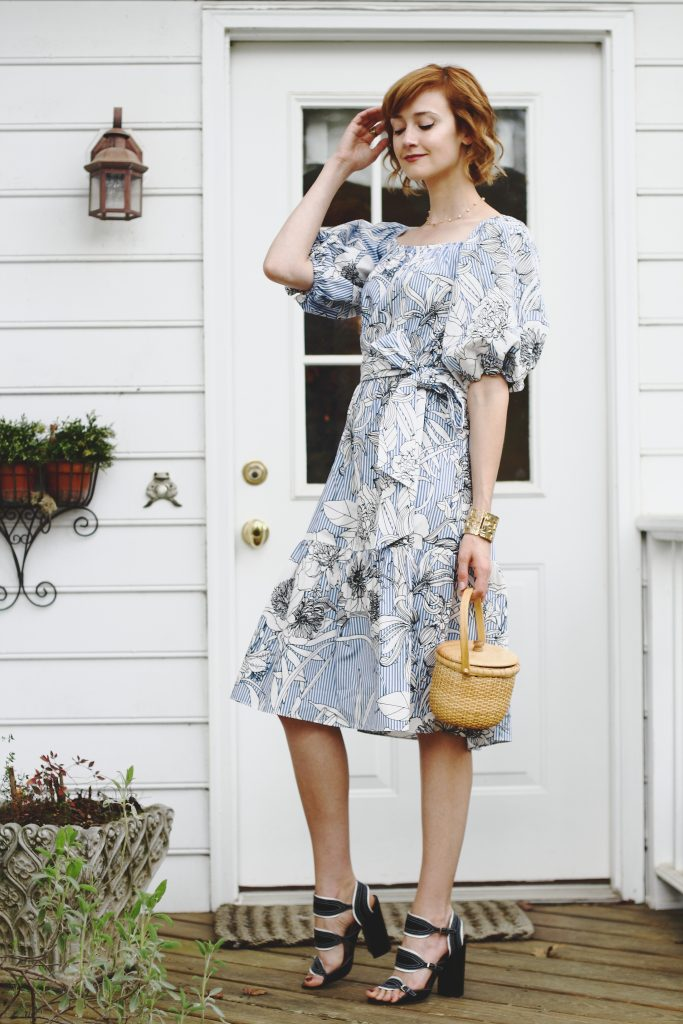 Zara dress, Tabitha Simmons sandals, and basket bag