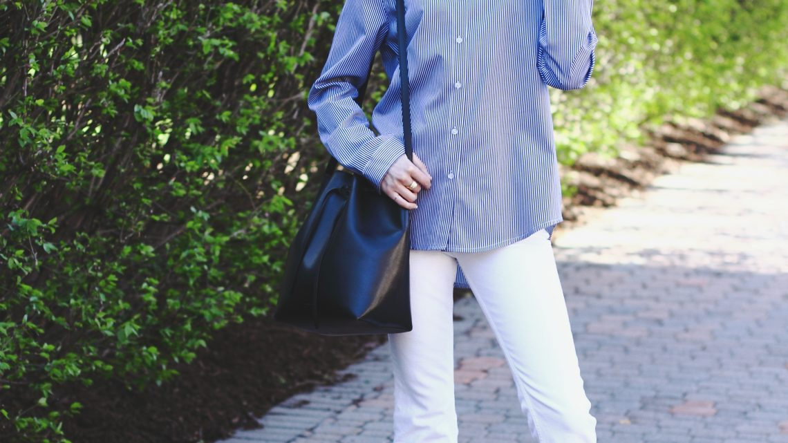 striped button-down, H&M white denim and Donald J Pliner mules
