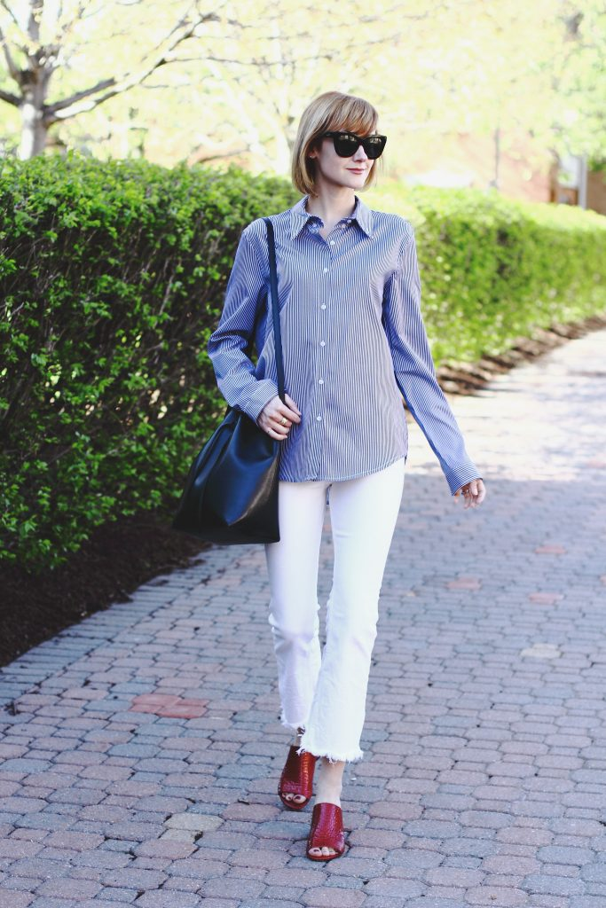 striped button-down, H&M white denim and Donald J Pliner mules
