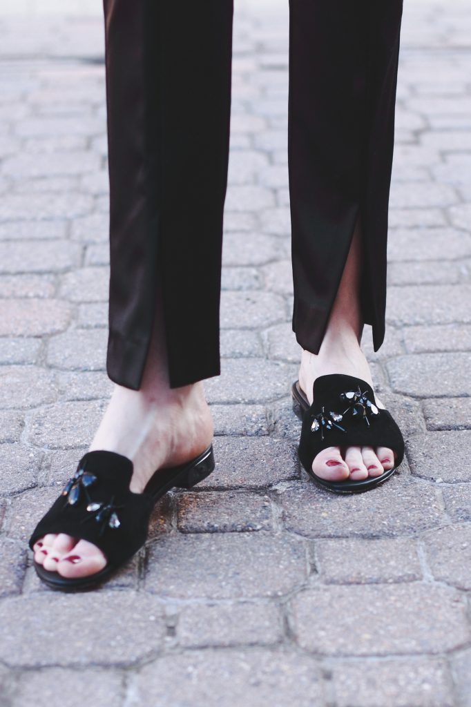 satin slit pants and Donald J. Pliner slides