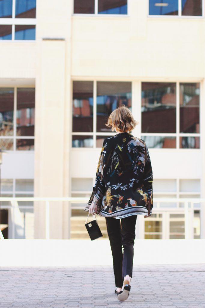 kimono jacket, satin pants and Donald J. Pliner slides