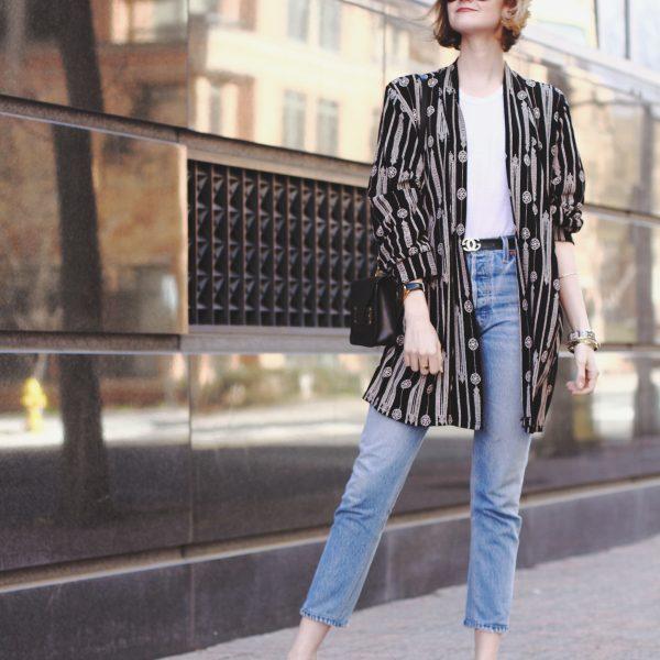 vintage kimono, Gucci belt, Re/Done jeans, Sol Sana mules