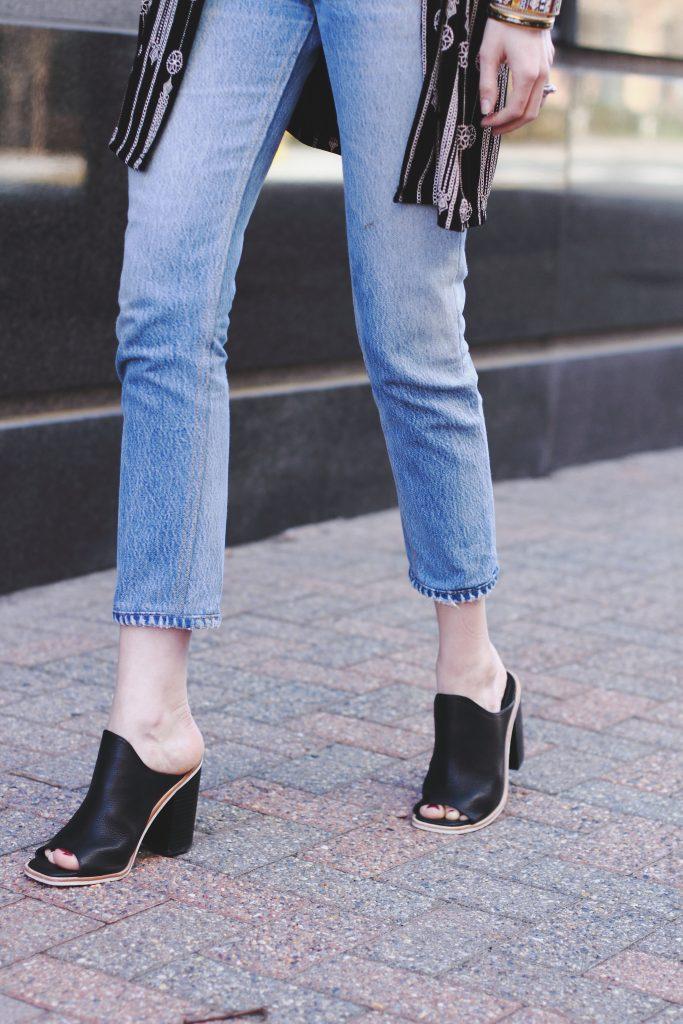 vintage kimono, Re/Done jeans, Sol Sana mules