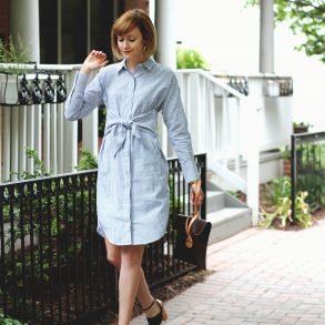Mango shirt dress, Tabitha Simmons sandals, and Saddleback Leather clutch