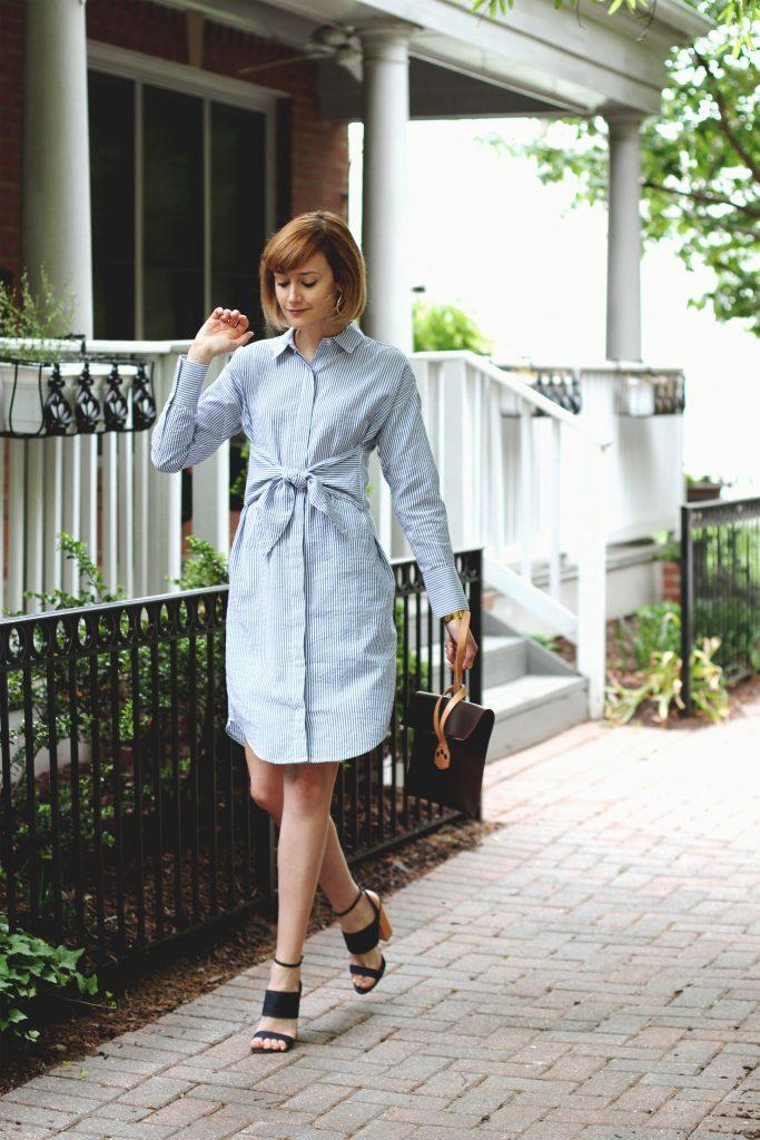 Mango shirt dress, Tabitha Simmons sandals, and Saddleback Leather clutch
