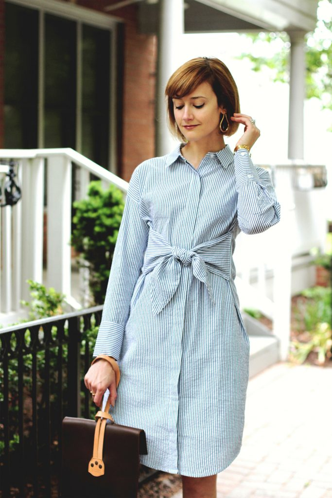 Mango earrings, shirt dress, and Saddleback Leather bag