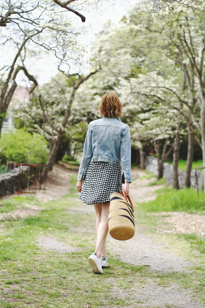 Levi's jean jacket, Mango dress, Stan Smiths and basket bag
