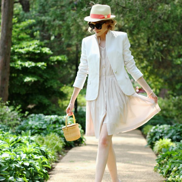 straw fedora, Zara blazer, Anthropologie shirt dress, and Hush Puppies oxfords