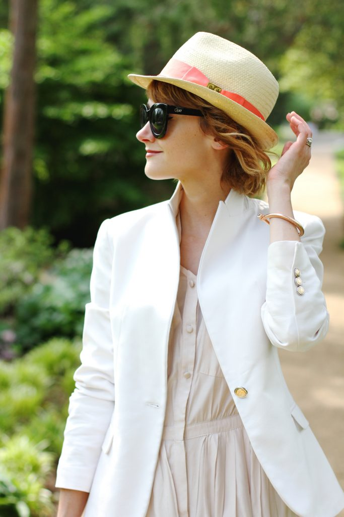 straw fedora, Zara blazer, and Anthropologie shirt dress