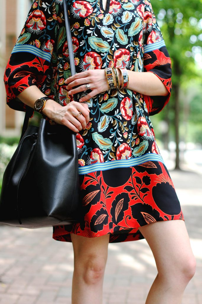 Mango print dress and Mansur Gavriel bag