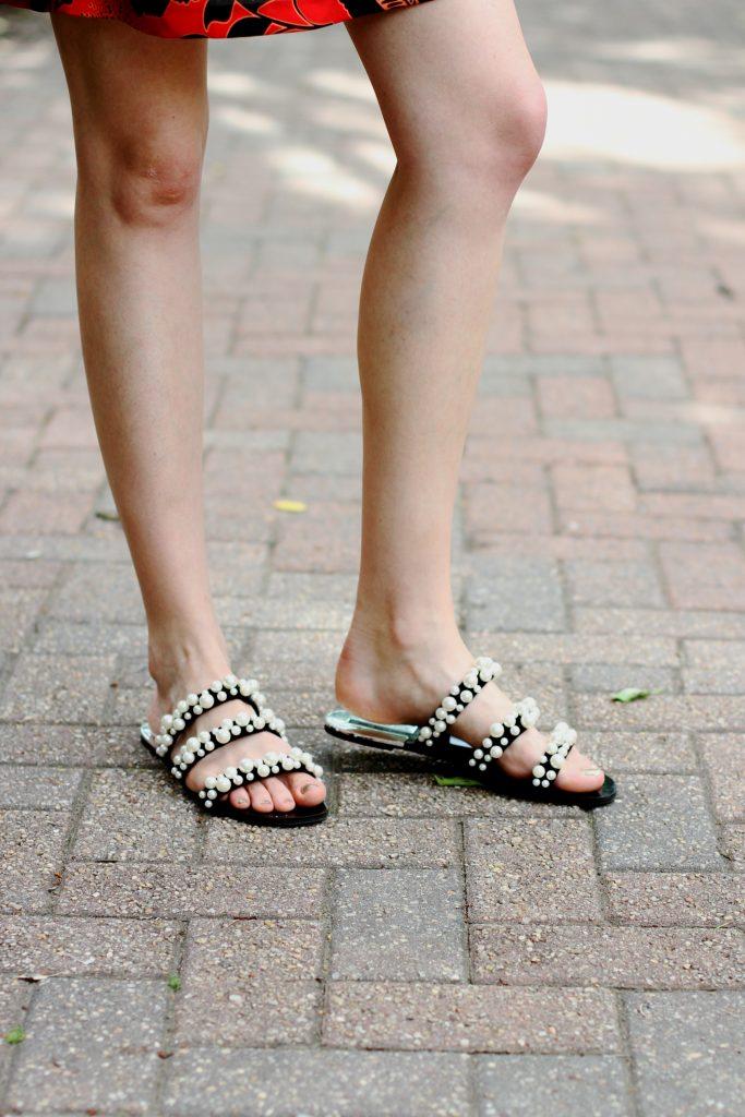 Zara pearl-embellished slides