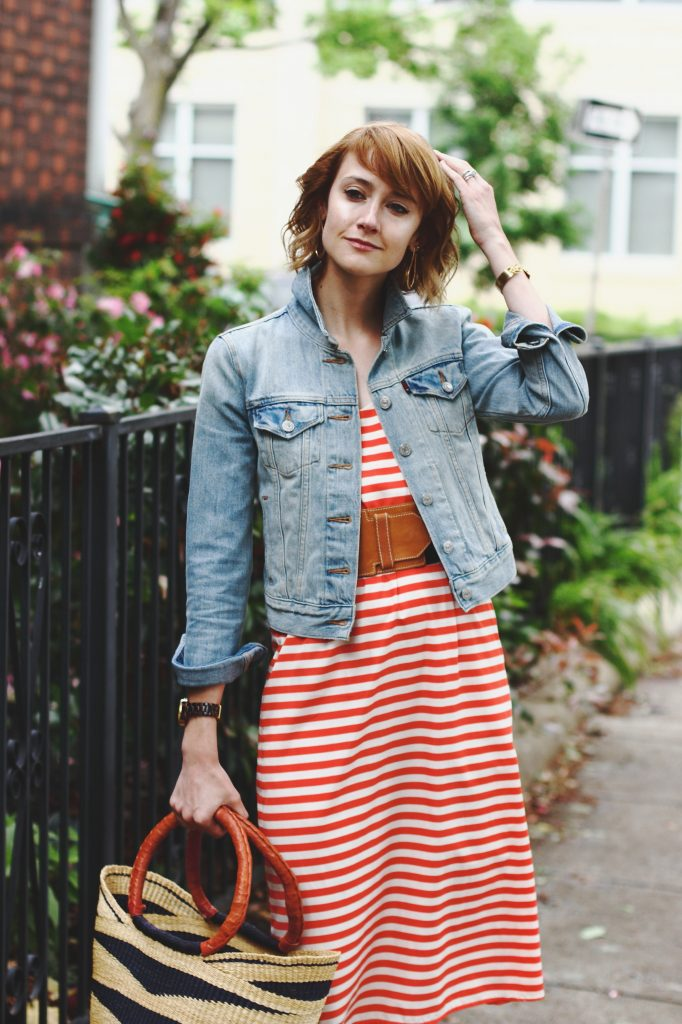 Levi's jacket and Current Boutique dress