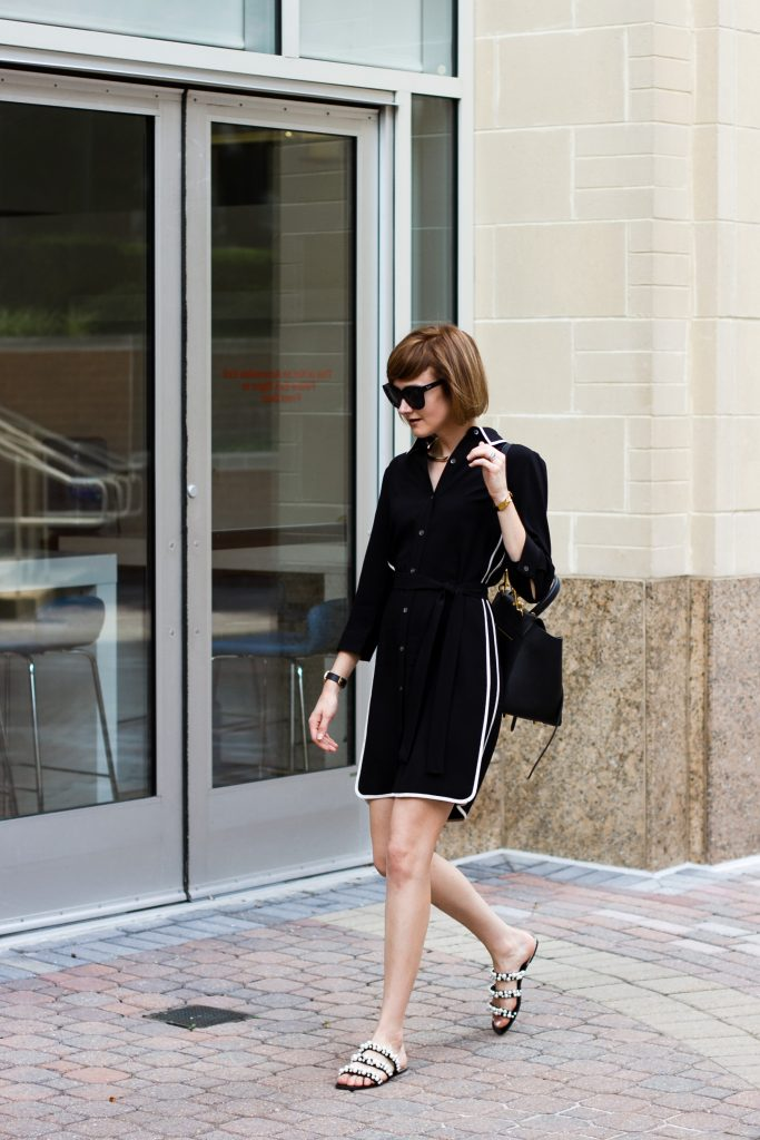 Ann Taylor shirt dress and Zara pearl slides