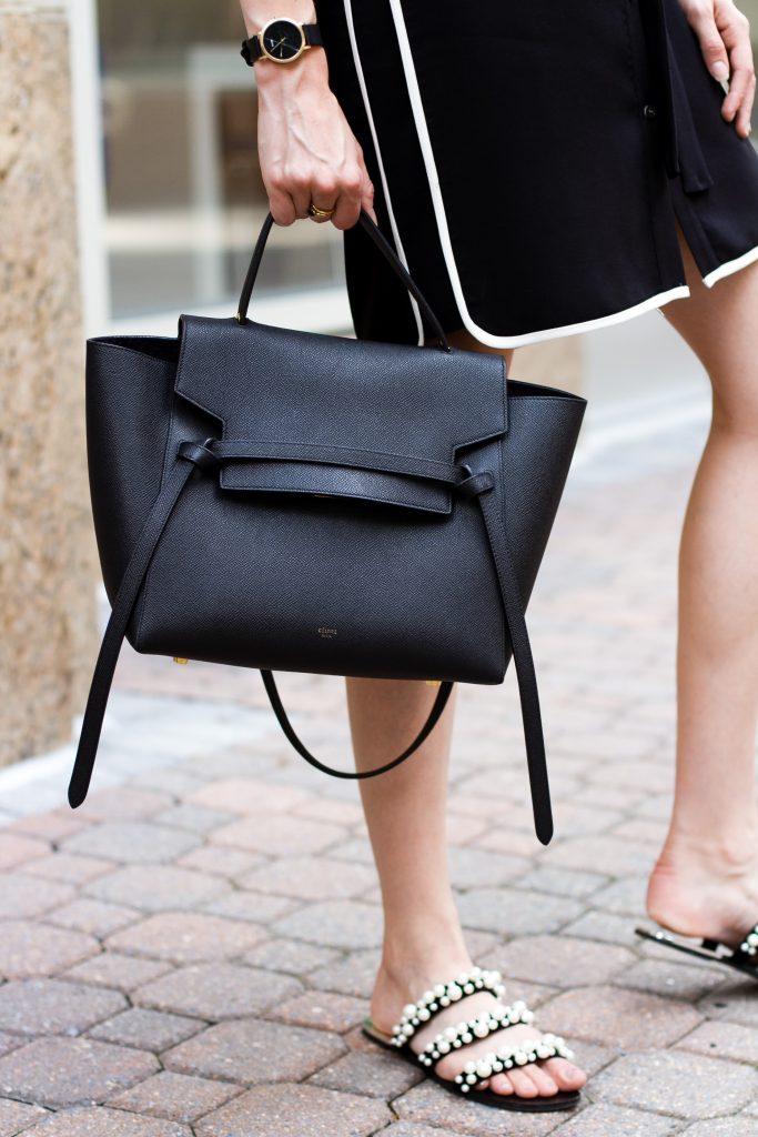 Celine belt bag and Zara pearl slides
