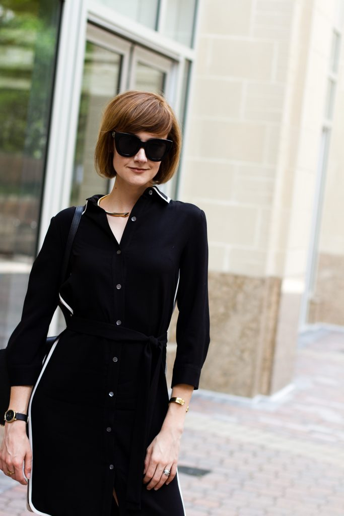 Ann Taylor shirt dress and Celine belt bag