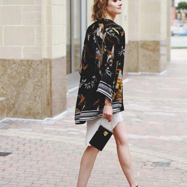 kimono jacket and white slip dress
