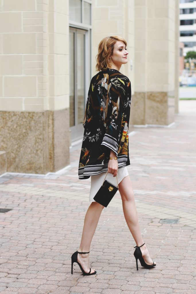 kimono jacket and white slip dress