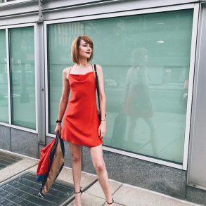 red slip dress and Stuart Weitzman heels