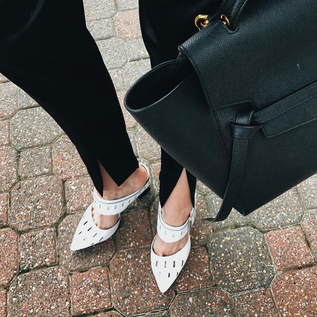 Genuine People white mules and Celine bag