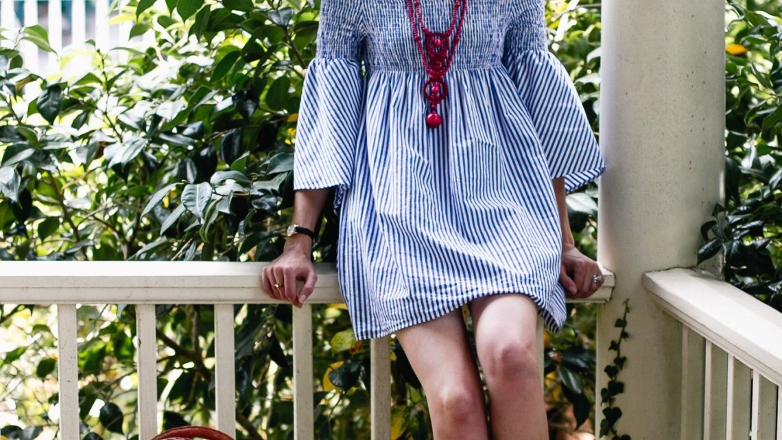 Zara pinstripe dress and ATP Atelier sandals