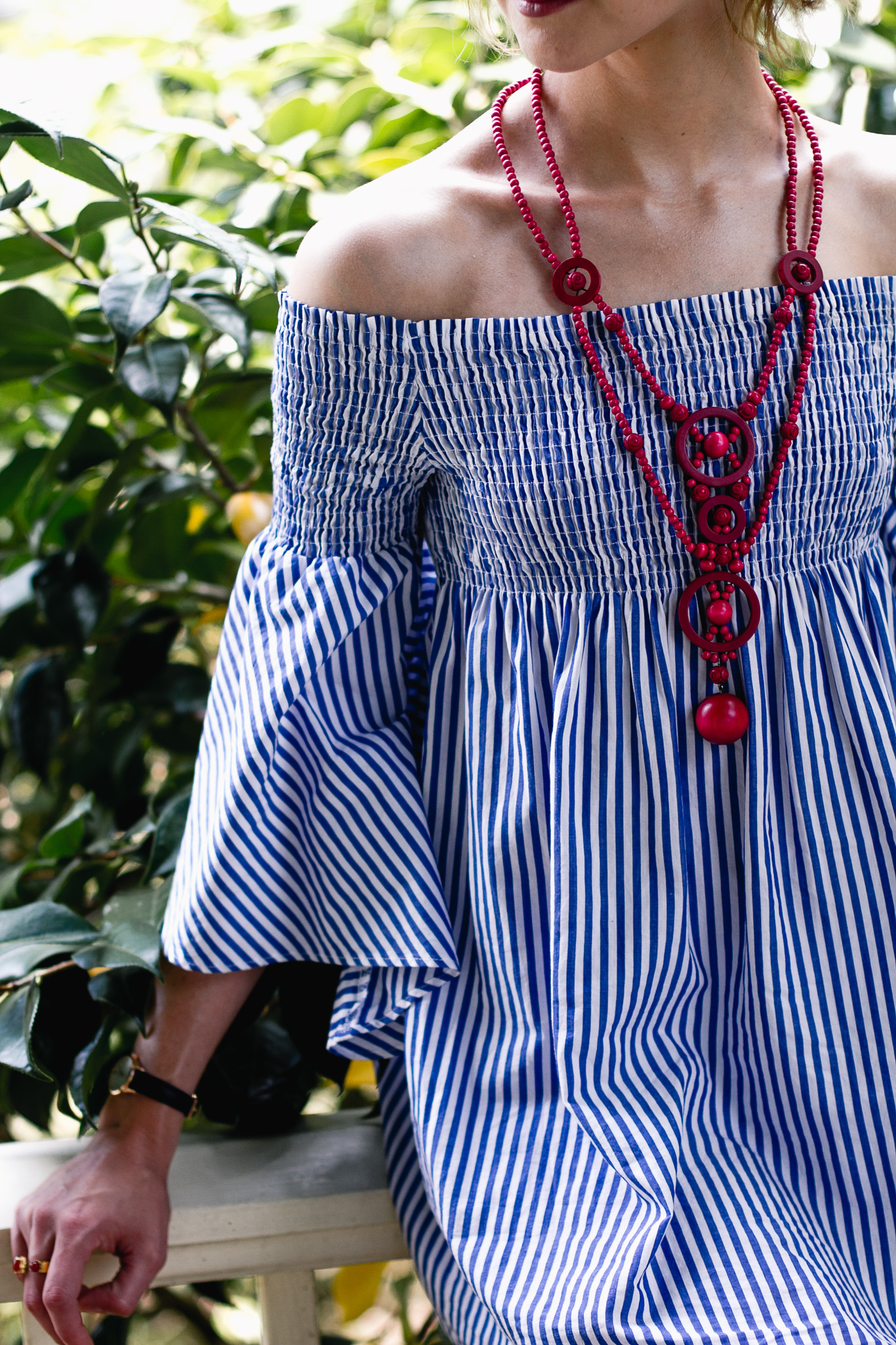 Zara pinstripe dress and vintage necklace