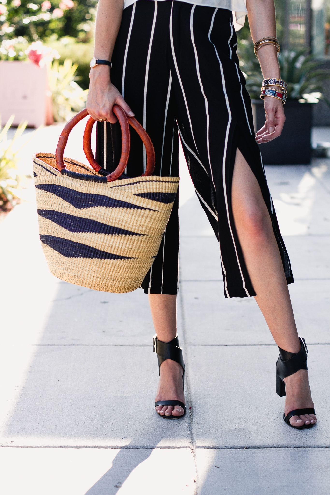 Mango striped culottes and basket bag