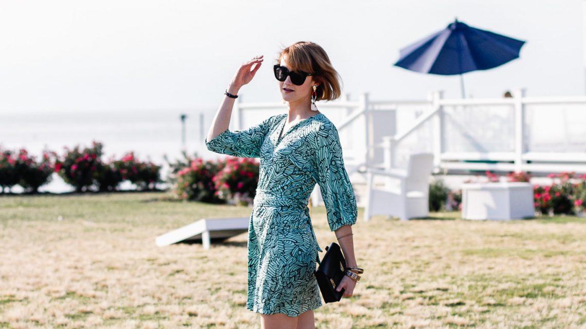 Mara Hoffman mini dress and Zara pearl slides