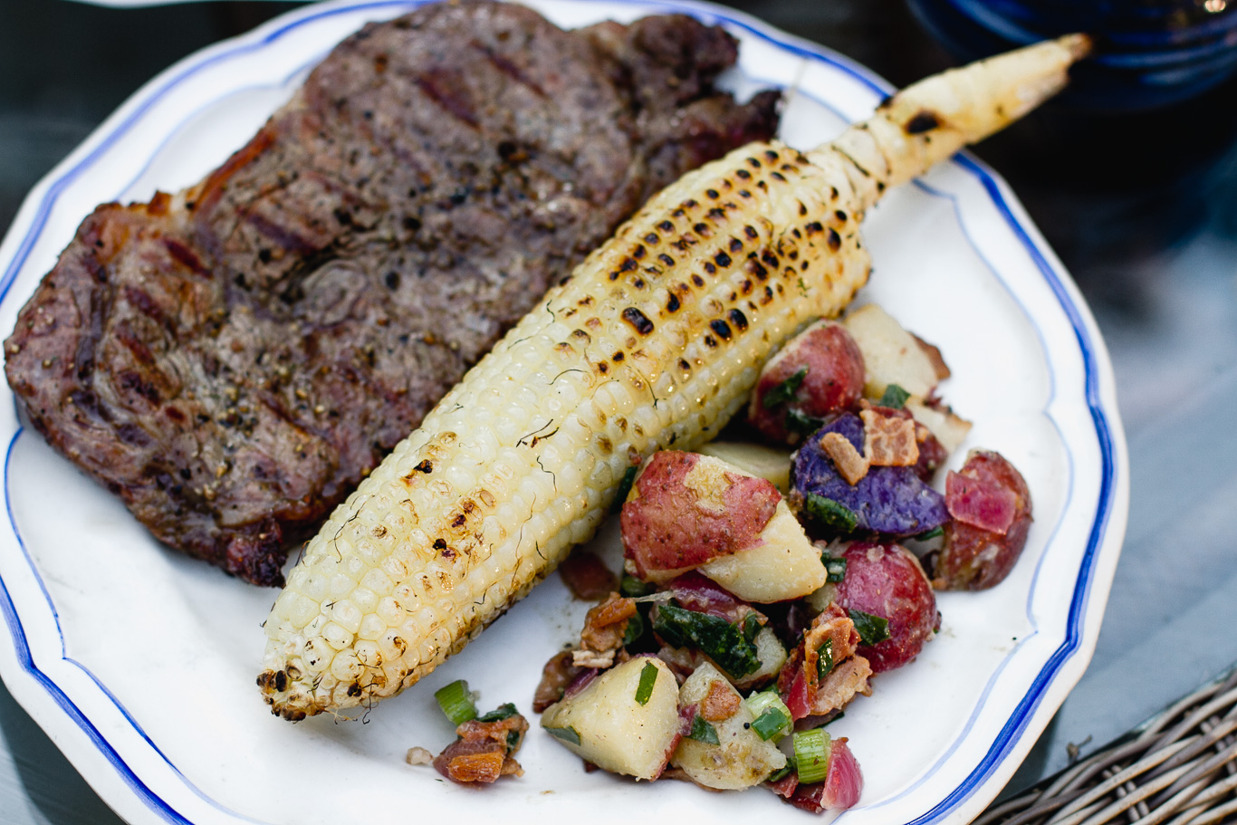 Grilled Steak with Chimichurri, Warm Potato Salad, and Cilantro Lime Corn on the Cob