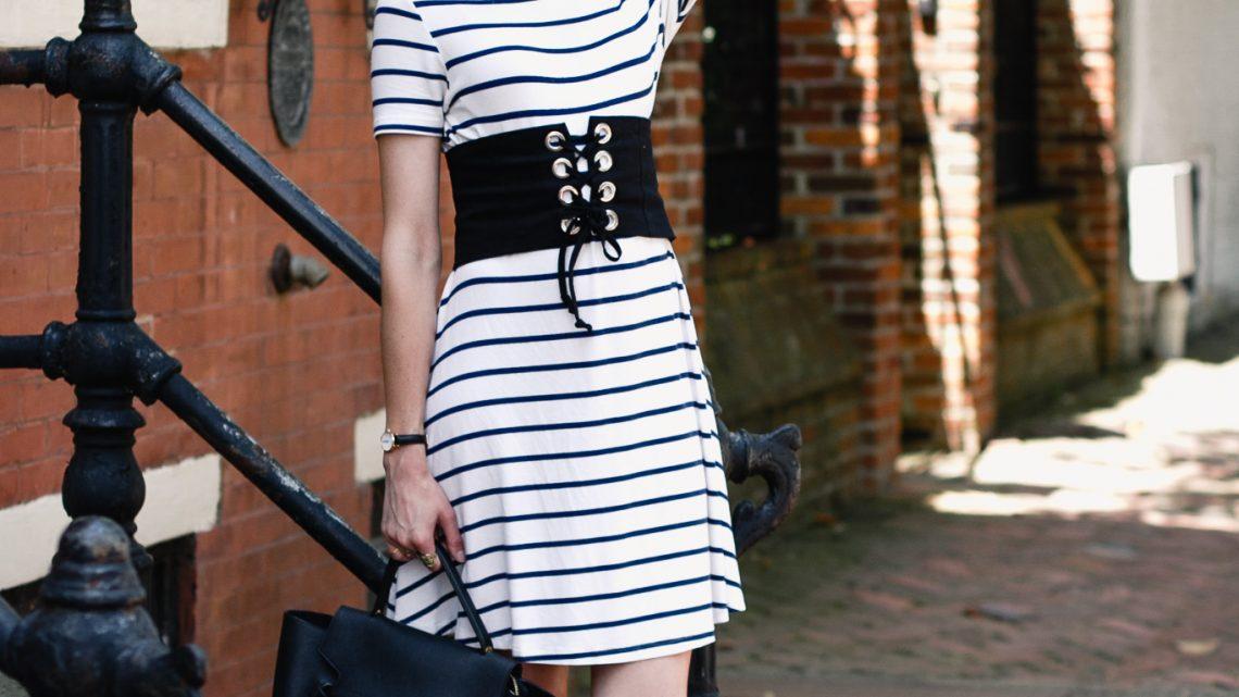 striped dress, corset belt, and Donald J Pliner mules