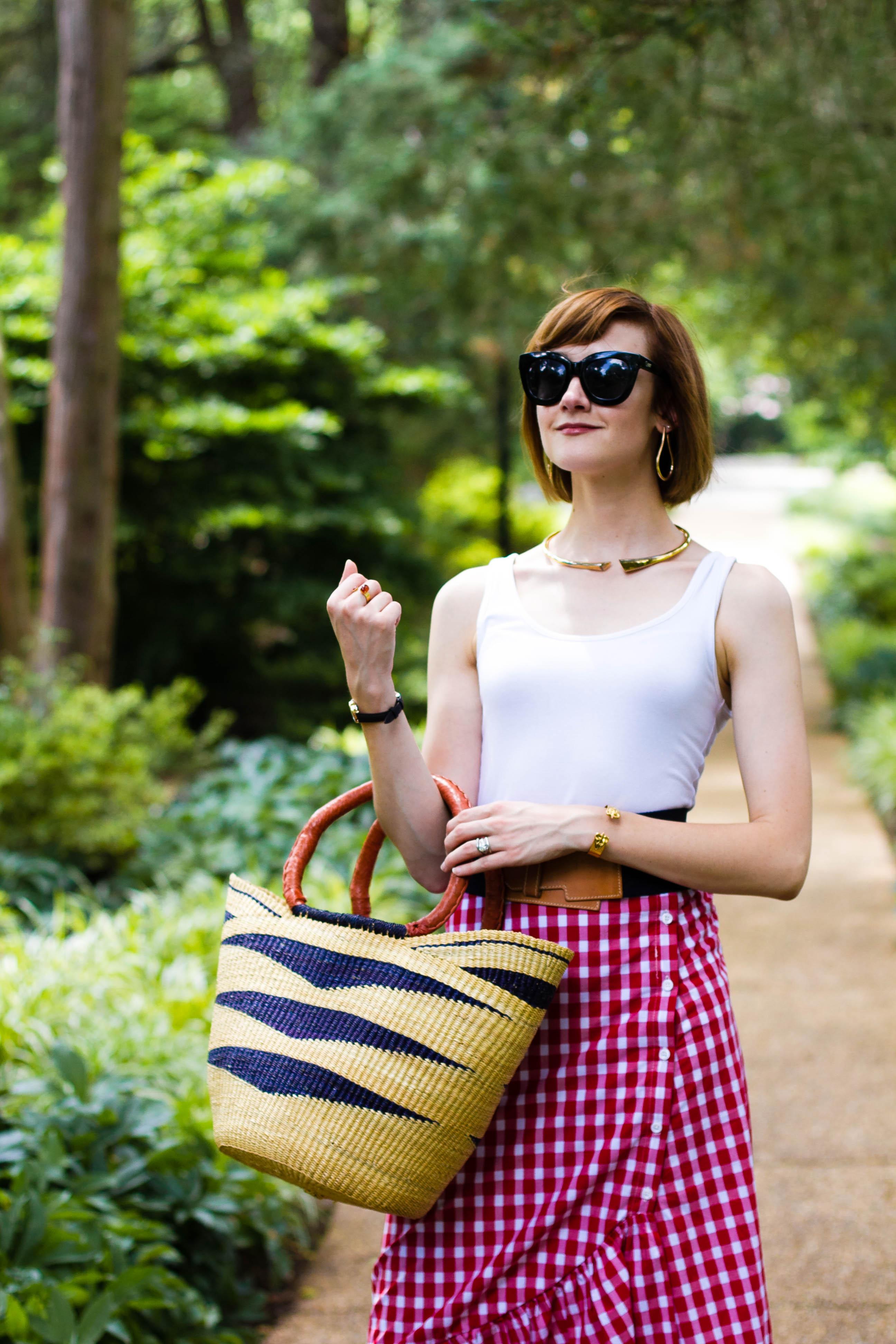 Zara gingham skirt, straw bag, and Tabitha Simmons sandals