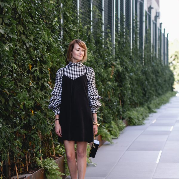 gingham top, Joie dress, and Nicholas Kirkwood heels