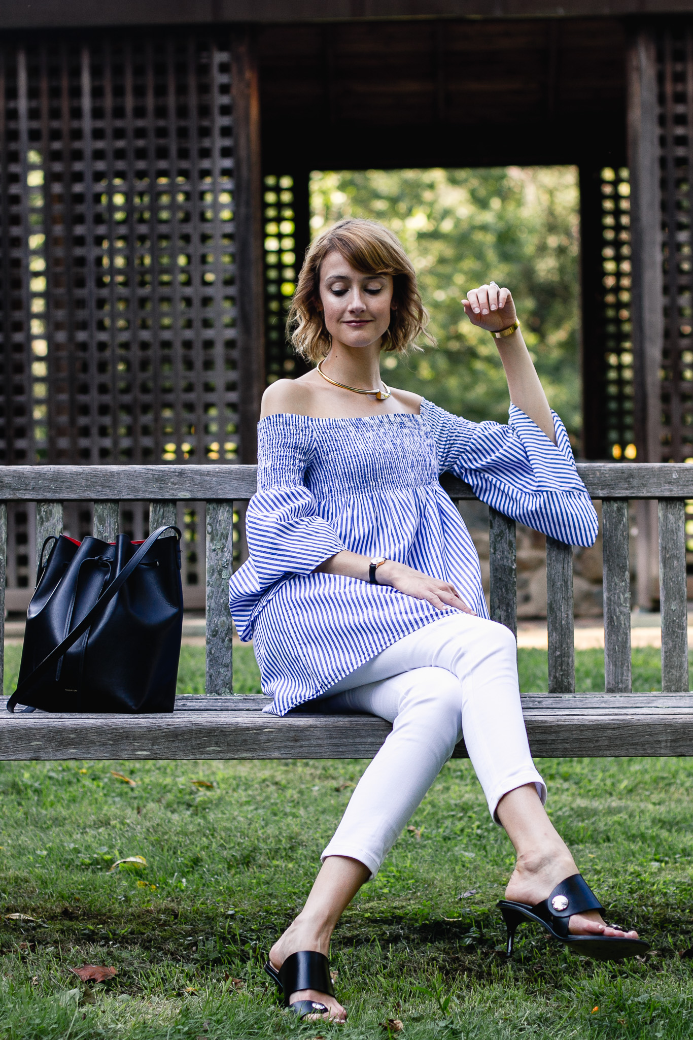 Zara bell sleeve top and St. John white pants