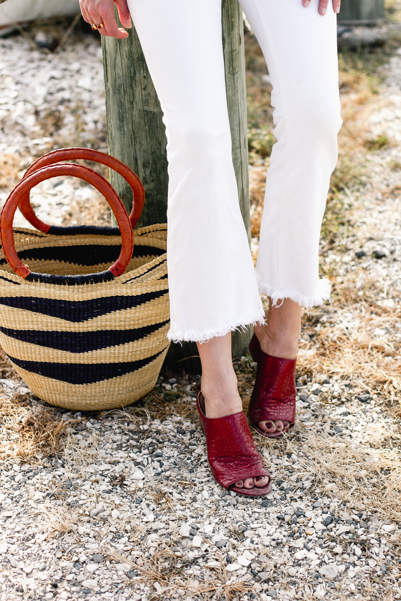 white denim, Donald J. Pliner mules, and straw bag