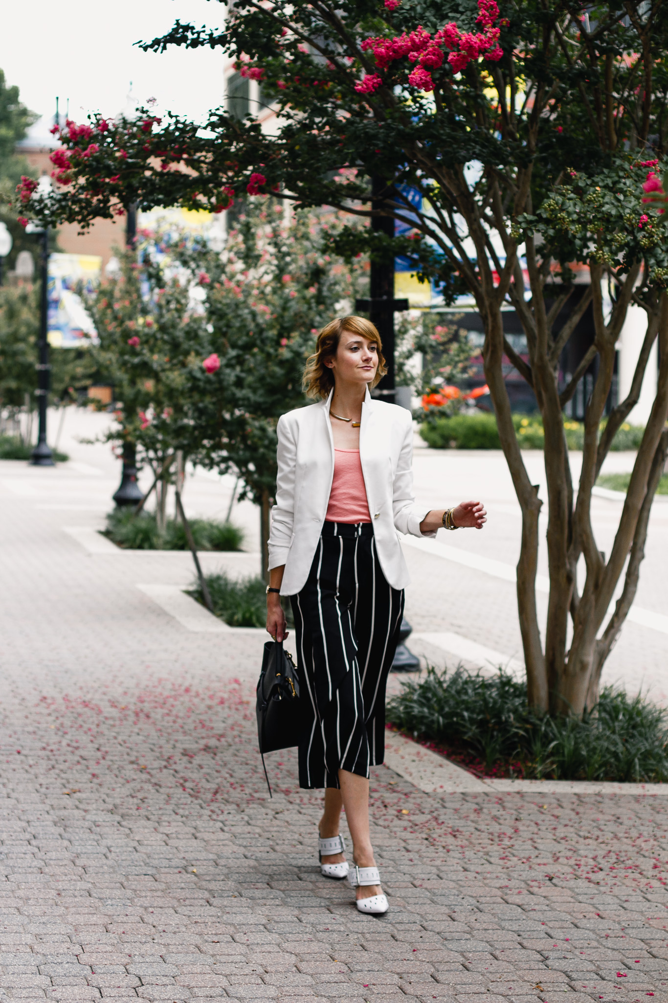Zara white blazer and Mango striped culottes