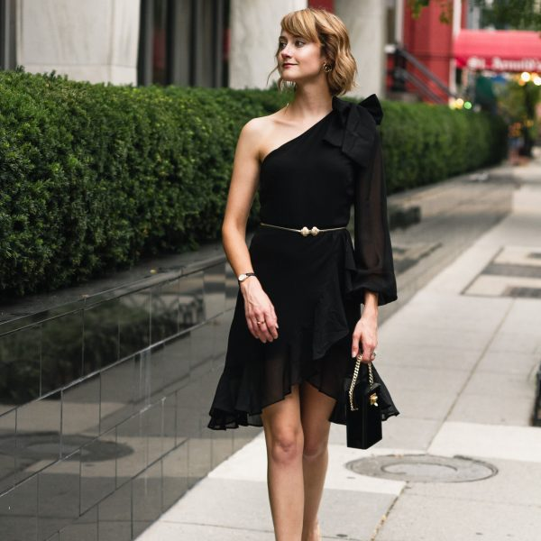 Mango asymmetrical dress and Alexander McQueen sandals