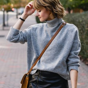 Genuine People sweater, leather skirt and Saddleback Leather bag