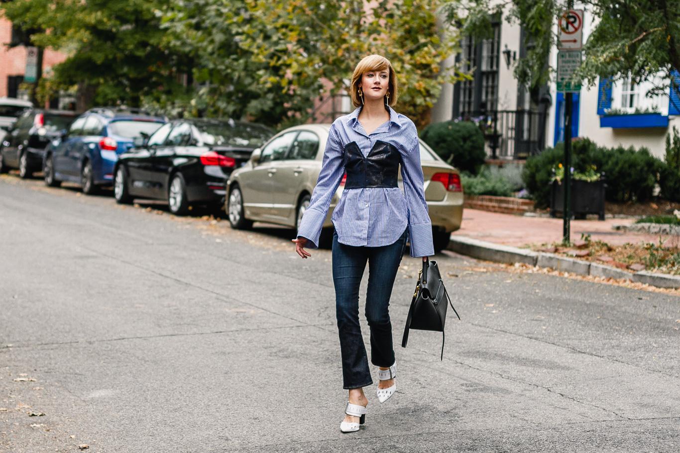 Mango bustier, pinstripe shirt, Frame jeans, Genuine People mules