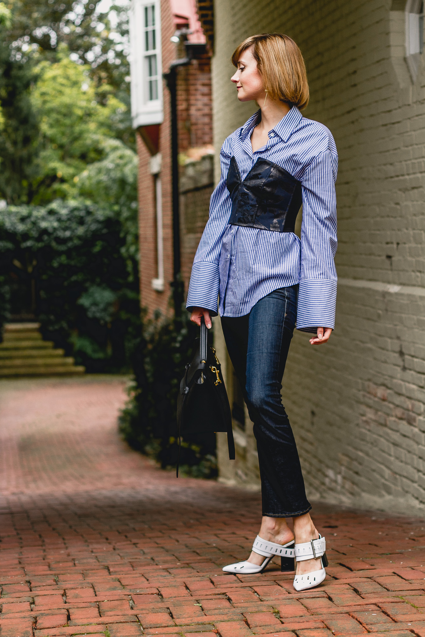 Mango bustier, pinstripe shirt, Frame jeans, Genuine People mules