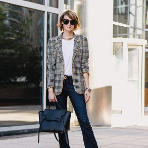 Ungaro plaid blazer, Ferragamo belt, Frame jeans