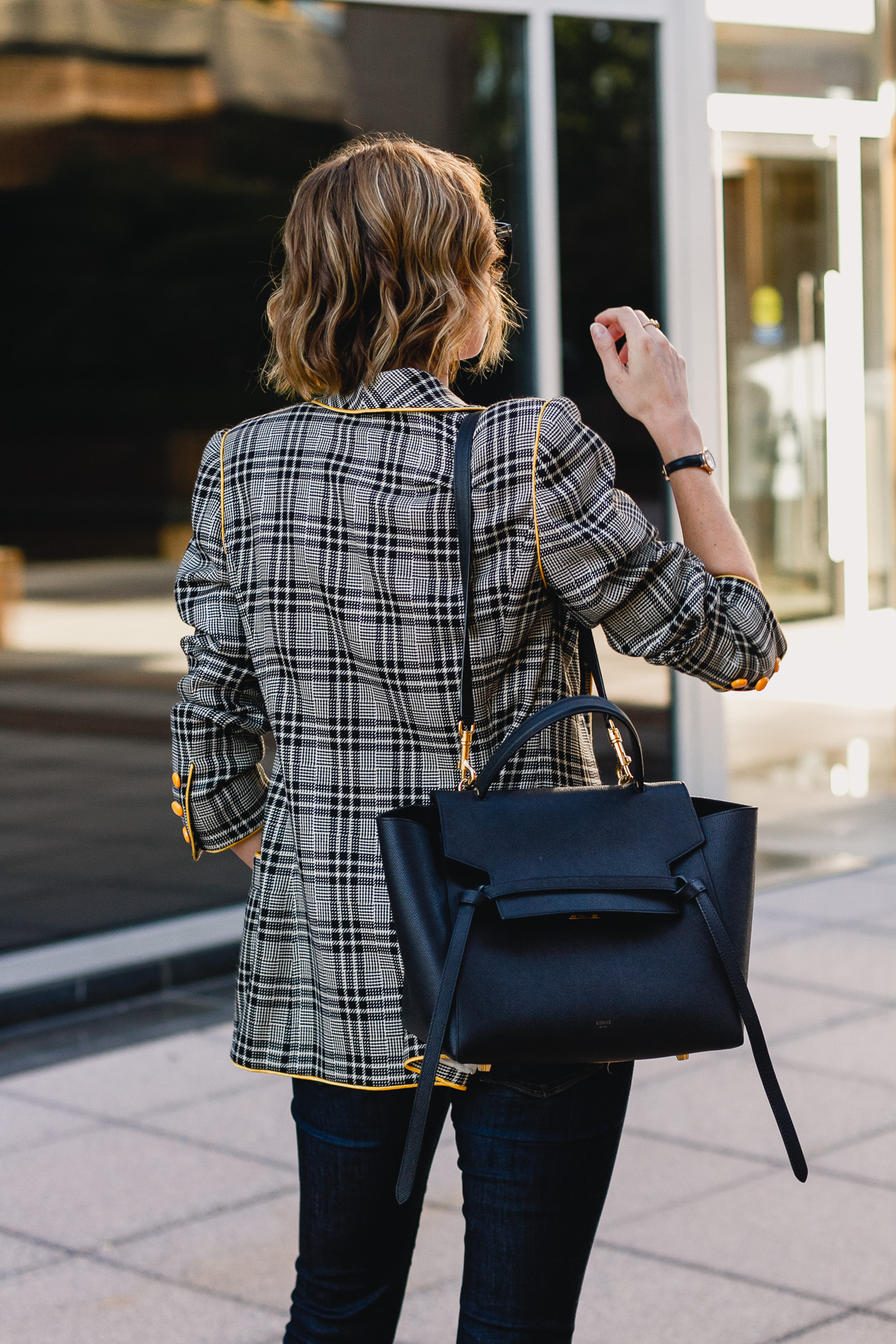 vintage plaid Ungaro blazer, Celine bag