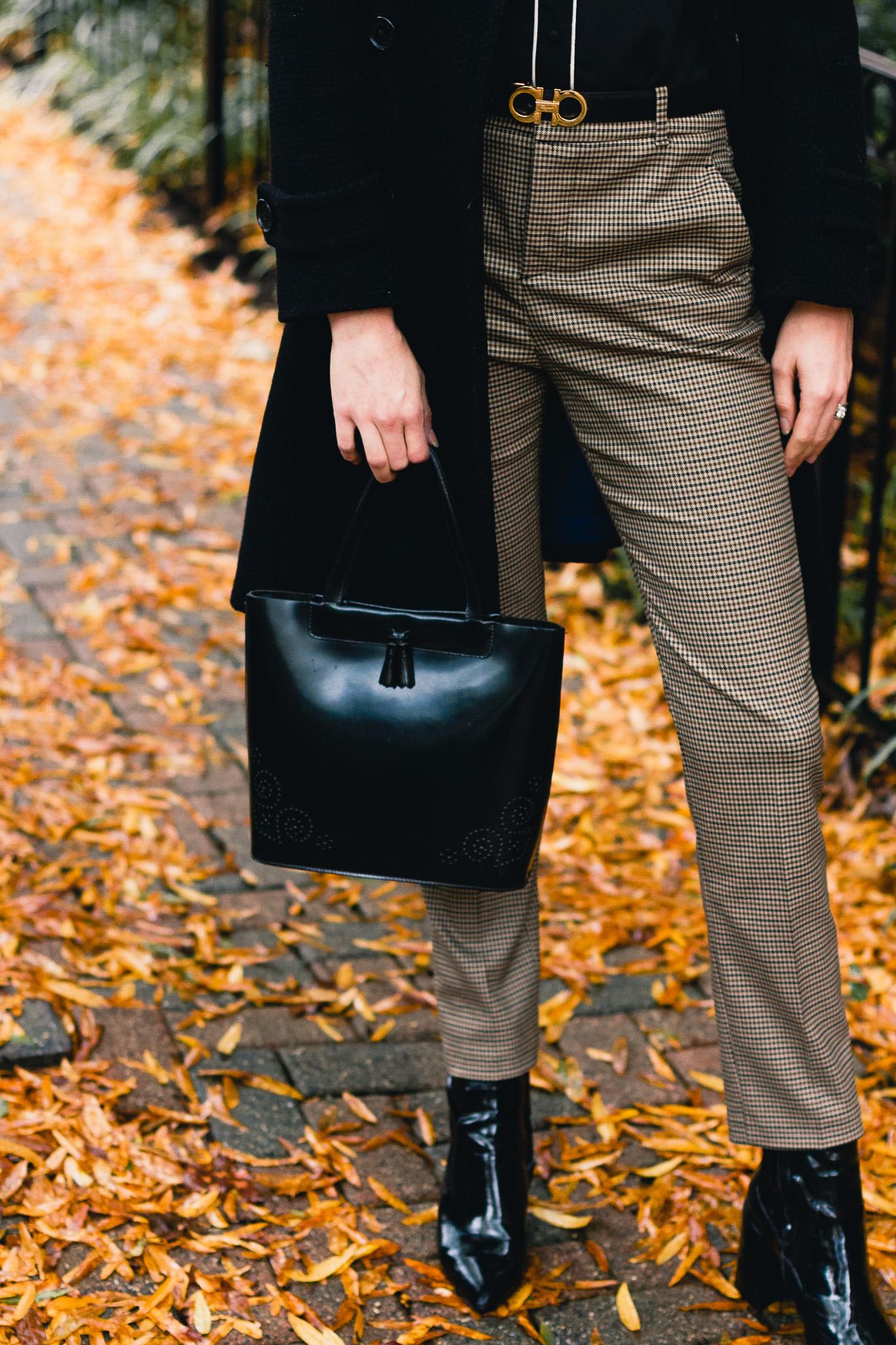 Zara plaid pants, Lamarthe patent tote, Mango ankle boots