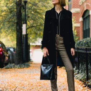 Marc New York coat, Zara plaid pants, and Mango boots