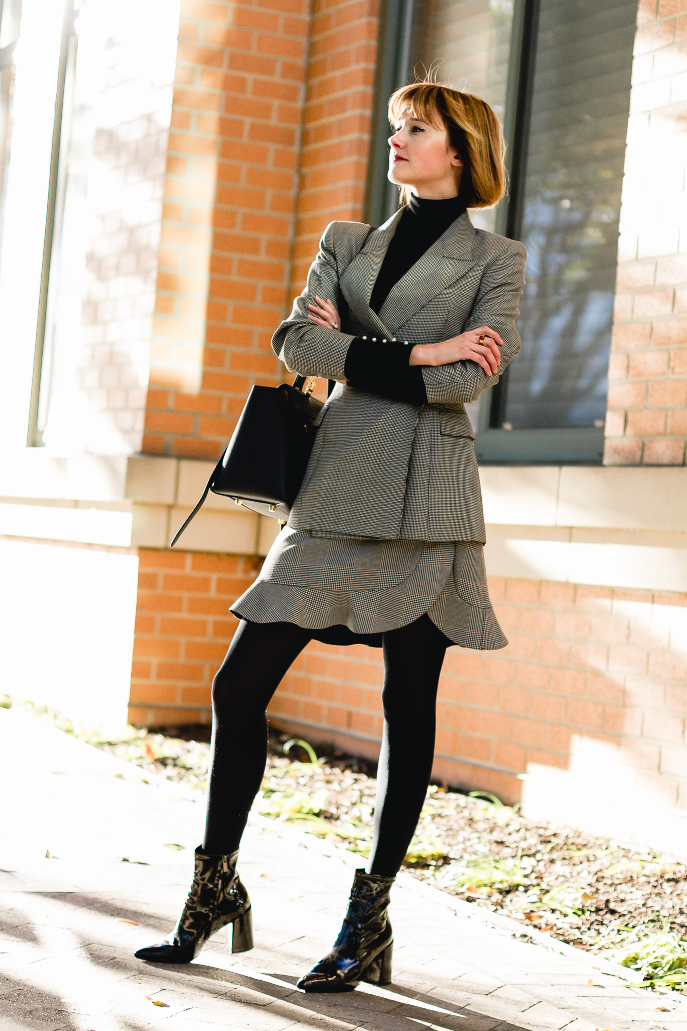 vintage blazer, Zara plaid skirt, and Mango patent boots