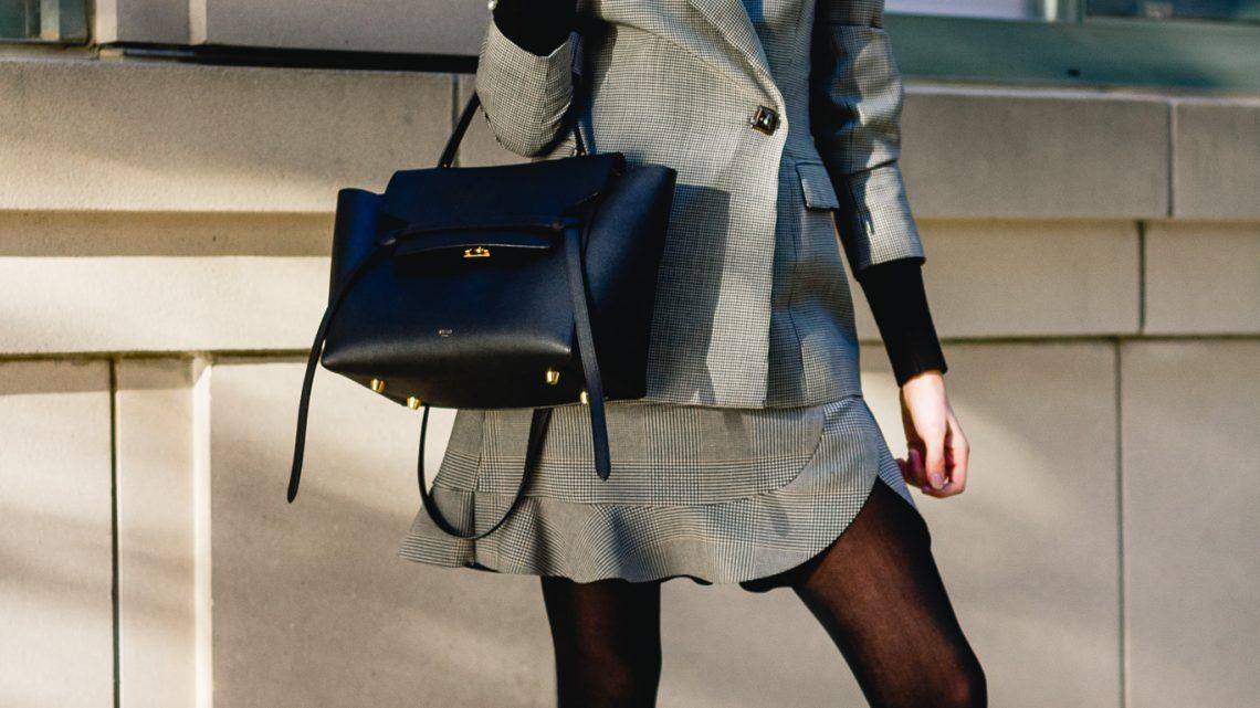 vintage blazer, Zara plaid skirt, and Mango patent boots
